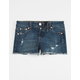 SCISSOR Destructed Fray Edge Girls Denim Shorts