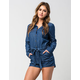 MIMI CHICA Denim Button Front Womens Romper