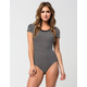 FULL TILT  Striped Ringer Womens Bodysuit