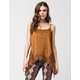 TAYLOR & SAGE Suede Crochet Womens Tank