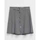 FULL TILT Striped Button Front Girls Rib Skirt