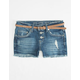 VANILLA STAR Premium Belted Girls Destructed Denim Shorts