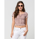 FULL TILT Textured Stripe Lace Up Womens Top