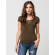 POLLY & ESTHER Lace Up Womens Tee