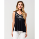 FULL TILT Embroidered Side Slit Womens Tank