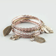 FULL TILT 8 Piece Leaf Charm Bangle Bracelets