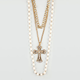 FULL TILT 3 Row Cross Pearl Necklace