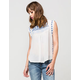 PATRONS OF PEACE Embroidered Trim Womens Top