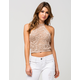 SAY WHAT? Open Crochet Womens Halter Top