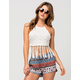 SAY WHAT? Crochet Fringe Womens Halter Top