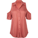 FULL TILT Button Front Womens Cold Shoulder Top