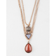 FULL TILT 3 Layer Stone Charm Necklace
