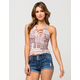 H.I.P. Lace Up Patchwork Womens Halter Top