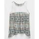FULL TILT Medallion Print Crochet Girls Top