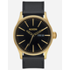 NIXON Sentry Leather Black & Gold Watch