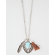 FULL TILT Leaf/Turquoise Triangle Charm Necklace