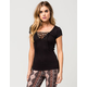 POLLY & ESTHER Ribbed Lace Up Womens Top