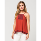 CHLOE & KATIE Embroidered Tie Back Womens Tank