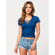 FULL TILT Lace Up Ribbed Womens Tee