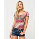 GYPSIES & MOONDUST Ribbed Stripe Womens Henley Tee