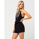 CHLOE & KATIE Embroidered High Neck Womens Romper