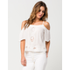 PATRONS OF PEACE Cold Shoulder Lace Womens Top