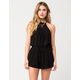 CHLOE & KATIE High Neck Crochet Womens Romper