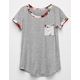FULL TILT Floral Trim Girls Pocket Tee