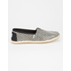 TOMS Black Woven Womens Classic Slip-Ons