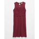 FULL TILT Hi Neck Crochet Front Girls Dress