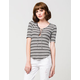 FULL TILT Striped Lace Up Womens Tee