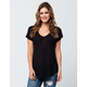 BOZZOLO Solid V-Neck Womens Tee