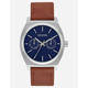 NIXON Time Teller Deluxe Leather Silver & Navy Watch