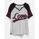 FULL TILT Love Girls Varsity Tee