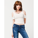 FULL TILT Ribbed Cold Shoulder Womens Top