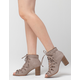 SODA Peep Toe Lace Up Womens Booties