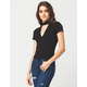 FULL TILT Mock Neck Keyhole Womens Tee