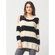 SEA GYPSIES Faux Fur Cold Shoulder Womens Sweater