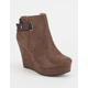 SODA Back Strap Womens Wedge Booties