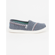 TOMS Chambray Embroidered Girls Classic Slip-Ons