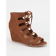 DELICIOUS Lace Up Womens Wedges
