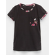 FULL TILT Floral Pocket Girls Ringer Tee