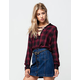 POLLY & ESTHER Plaid Twill Womens Top