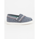 TOMS Toddlers Chambray Embroidered Classic Slip-Ons