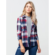 POLLY & ESTHER Hacci Womens Plaid Shirt