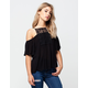 PATRONS OF PEACE Lace Cold Shoulder Womens Top