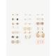 FULL TILT 20 Pairs Floral/Rhinestone Earrings