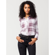 FULL TILT Plum Boyfriend Womens Flannel Shirt