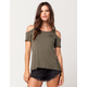 FULL TILT Hello Friday Womens Cold Shoulder Top