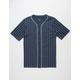 BLUE CROWN Pinstripe Mens Baseball Jersey
